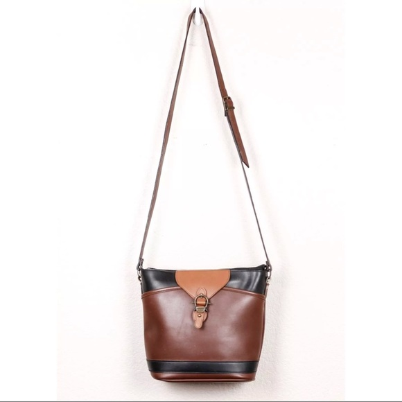 B. H. Smith Handbags - B H Smith Vintage Brown Black Leather Bucket Purse a2800780f37e6